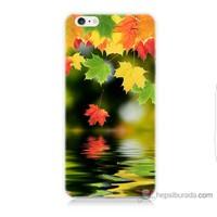 Bordo iPhone 6s Kapak Kılıf Renkli Yaprak Baskılı Silikon