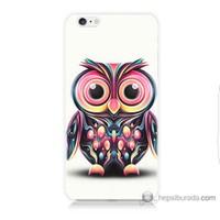 Bordo iPhone 6 Plus Kapak Kılıf Renkli Baykuş Baskılı Silikon