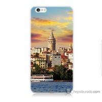 Bordo iPhone 6 Plus Kapak Kılıf İstanbul Galata Baskılı Silikon