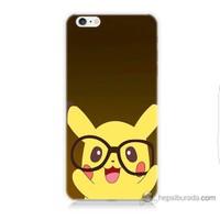 Bordo iPhone 6s Kapak Kılıf Gözlüklü Pikachu Baskılı Silikon