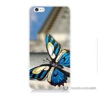 Bordo iPhone 6s Kapak Kılıf Mavi Kelebek Baskılı Silikon