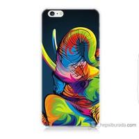 Bordo iPhone 6s Kapak Kılıf Renkli Fil Baskılı Silikon