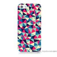 Bordo iPhone Se Kapak Kılıf Renkli Üçgenler Baskılı Silikon