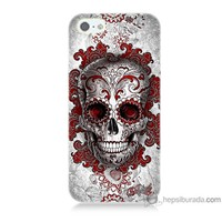 Bordo iPhone Se Kapak Kılıf Kırmızı Kuru Kafa Baskılı Silikon