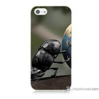 Bordo iPhone Se Kapak Kılıf Dünyayı İten Böcek Baskılı Silikon