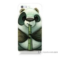 Bordo iPhone Se Kapak Kılıf Flütlü Panda Baskılı Silikon