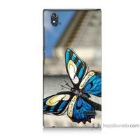 Bordo Turkcell T50 Kapak Kılıf Mavi Kelebek Baskılı Silikon