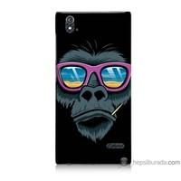 Bordo Turkcell T50 Kapak Kılıf Gözlüklü Maymun Baskılı Silikon