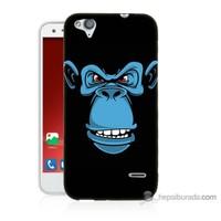 Bordo Turkcell T60 Kapak Kılıf Mavi Goril Baskılı Silikon