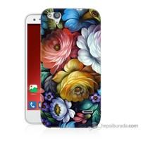 Bordo Turkcell T60 Kapak Kılıf Tablo Çiçekleri Baskılı Silikon