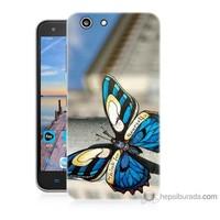 Bordo Turkcell T70 Kapak Kılıf Mavi Kelebek Baskılı Silikon