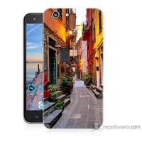 Bordo Turkcell T70 Kapak Kılıf Sokaklar Baskılı Silikon
