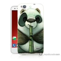 Bordo Turkcell T60 Kapak Kılıf Flütlü Panda Baskılı Silikon