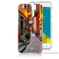 Bordo Vodafone Smart 6 Kapak Kılıf Sokaklar Baskılı Silikon
