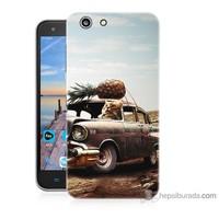 Bordo Turkcell T70 Kapak Kılıf Korkunç Araba Baskılı Silikon