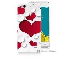 Bordo Vodafone Smart 6 Kapak Kılıf 3D Kalp Baskılı Silikon