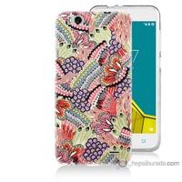 Bordo Vodafone Smart 6 Kapak Kılıf Renkli Desenler Baskılı Silikon