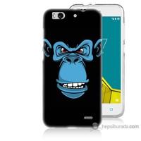 Bordo Vodafone Smart 6 Kapak Kılıf Mavi Goril Baskılı Silikon