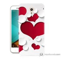 Bordo Vodafone Smart Style 7 Kapak Kılıf 3D Kalp Baskılı Silikon