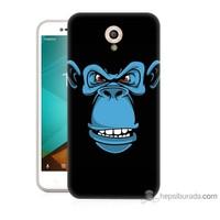 Bordo Vodafone Smart Style 7 Kapak Kılıf Mavi Goril Baskılı Silikon