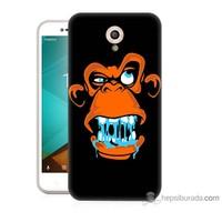 Bordo Vodafone Smart Style 7 Kapak Kılıf Turuncu Goril Baskılı Silikon