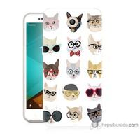 Bordo Vodafone Smart Style 7 Kapak Kılıf Gözlüklü Kediler Baskılı Silikon