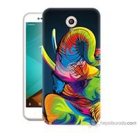 Bordo Vodafone Smart Style 7 Kapak Kılıf Renkli Fil Baskılı Silikon
