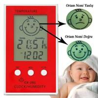 Çocuklar için İç Mekan Termometre ve Nem Ölçer,Saatli-thr111