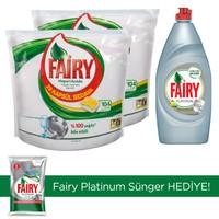 Fairy Hepsi Bir Arada Bulaşık Makinesi Deterjanı Kapsülü Limon Kokulu 104 Yıkama 2 'li Paket + Platinum Sıvı Bulaşık Deterjanı 870 ml (Sünger Hediye)