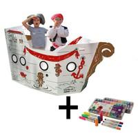 İkisi Bir Arada : Korsan Gemisi + Craft&Arts Jel Mum Boya 12'Li Set