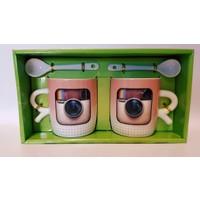 QF Sosyal Medya Kaşıklı Kupa Bardak Seti - 3