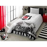 Taç Lisanslı Tek Kişilik Yatak Örtüsü - Beşiktaş Siyah Beyaz