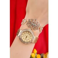 Çınar E-Ticaret Sarı Kaplama Metal Kordonlu Bayan Saat Ve Kristal Taşlı Bileklik Kombini