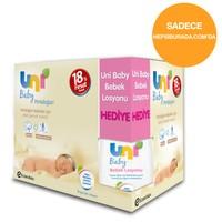 Uni Baby Yenidoğan 18'li Islak Pamuk Mendil Ekonomik Fırsat Paketi ( Uni Baby Bebek Losyonu / 200 ml Hediyeli ! )
