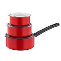 Papilla Redio Saklama Kabı Olabilen Tava Seti 7'li Kırmızı (12cm+14cm+16cm)