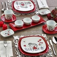 Keramika 2 Kişilik 14 Parça Kırmızı Kera Mira Köşem Kahvaltı Takımı