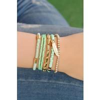 Çınar E-Ticaret Mint Yeşili Boncuk Tasarımlı Bayan Bileklik