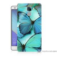 Teknomeg Huawei Honor 7 Kılıf Kapak Mavi Kelebekler Baskılı Silikon
