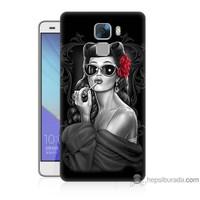 Teknomeg Huawei Honor 7 Kapak Kılıf Gözlüklü Kız Baskılı Silikon