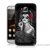 Teknomeg Huawei G8 Kapak Kılıf Gözlüklü Kız Baskılı Silikon