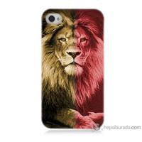 Teknomeg iPhone 4 Kapak Kılıf Sarı Kırmızı Aslan Baskılı Silikon