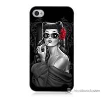 Teknomeg iPhone 4 Kapak Kılıf Gözlüklü Kız Baskılı Silikon