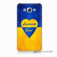 Teknomeg Samsung Galaxy E7 Kapak Kılıf Sarı Lacivert Baskılı Silikon