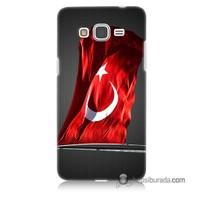 Teknomeg Samsung Galaxy Grand Prime Kapak Kılıf Türk Bayrağı Baskılı Silikon