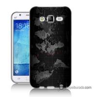 Teknomeg Samsung Galaxy J1 Kapak Kılıf Harita Baskılı Silikon