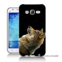 Teknomeg Samsung Galaxy J1 Kapak Kılıf Bozkurt Baskılı Silikon