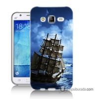 Teknomeg Samsung Galaxy J1 Ace Kapak Kılıf Yelkenli Baskılı Silikon