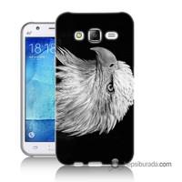 Teknomeg Samsung Galaxy J1 Ace Kapak Kılıf Kara Kartal Baskılı Silikon