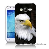 Teknomeg Samsung Galaxy J1 Ace Kapak Kılıf Siyah Kartal Baskılı Silikon
