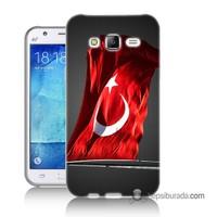 Teknomeg Samsung Galaxy J2 Kapak Kılıf Türk Bayrağı Baskılı Silikon